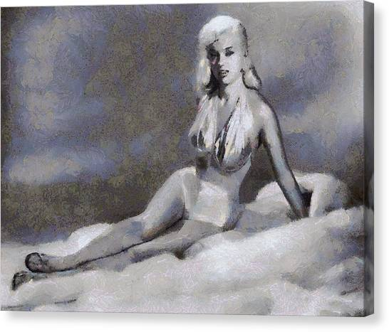 Dor Canvas Print - Bettie Page Pinup  by Esoterica Art Agency