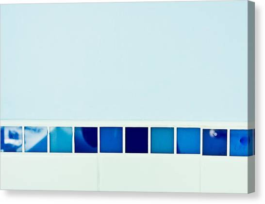 Ceramic Glazes Canvas Print - Blue Tiles by Tom Gowanlock