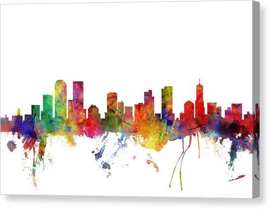 Denver Canvas Print - Denver Colorado Skyline by Michael Tompsett