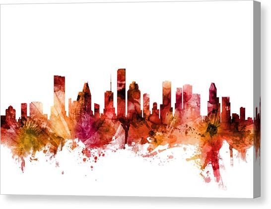 Houston Canvas Print - Houston Texas Skyline by Michael Tompsett