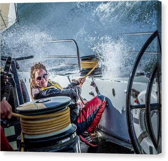 Sailing Canvas Print - 14 Knots! by Michael Delman