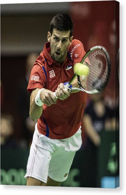 Tennis Pros Canvas Print - Novak Djokovic by Srdjan Petrovic