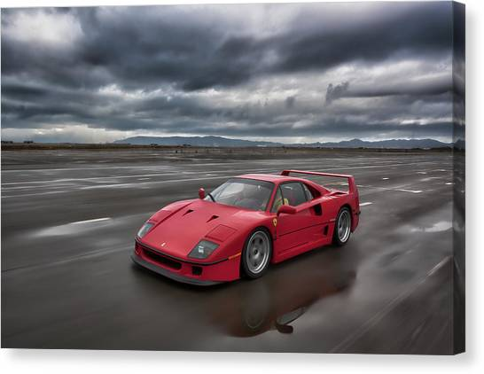 Canvas Print featuring the photograph #ferrari #f40 #print by ItzKirb Photography