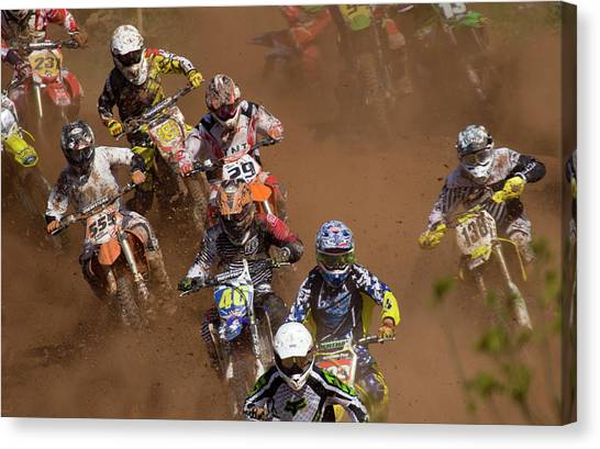 Motocross Canvas Print - Motocross by Angel Ciesniarska