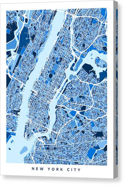 new york city map canvas print new york city street map by michael tompsett