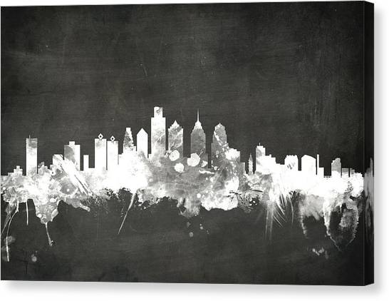 Philadelphia Skyline Canvas Print - Philadelphia Pennsylvania Skyline by Michael Tompsett
