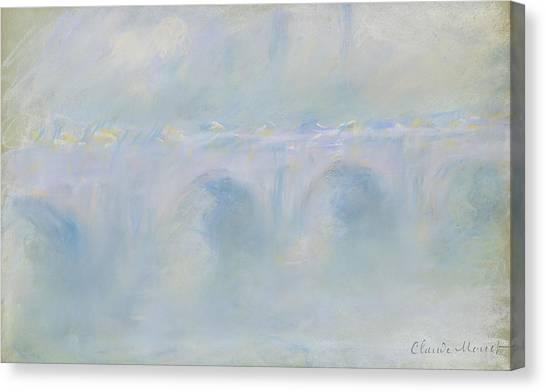 Murky Canvas Print - Waterloo Bridge by Claude Monet