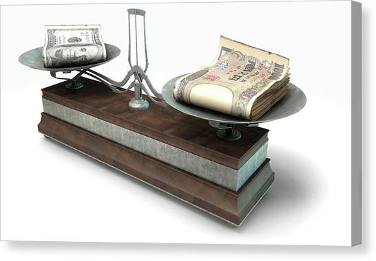 Exchange Rate Canvas Print - Balance Scale Comparison by Allan Swart