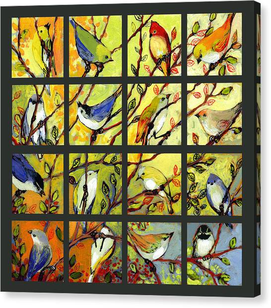 Cardinals Canvas Print - 16 Birds by Jennifer Lommers