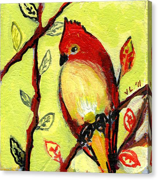 Cardinals Canvas Print - 16 Birds No 3 by Jennifer Lommers