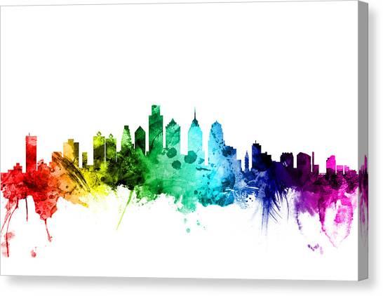 Philadelphia Skyline Canvas Print - Philadelphia Pennsylvania Skyline by Michael Tompsett