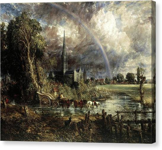 Salisbury Cathedral From The Meadows Canvas Print