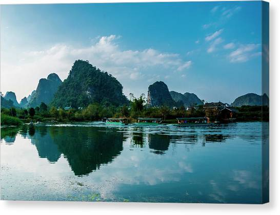 The Karst Mountains And River Scenery Canvas Print
