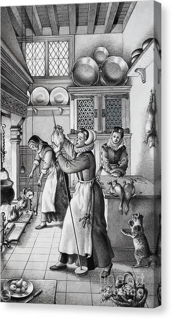 Wooden Platters Canvas Print - 16th Century Kitchen by Pat Nicolle