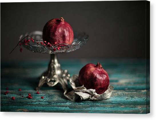 Red Berry Canvas Print - Pomegranate by Nailia Schwarz
