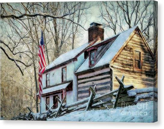 1700's Log House In West Chester, Pa Canvas Print