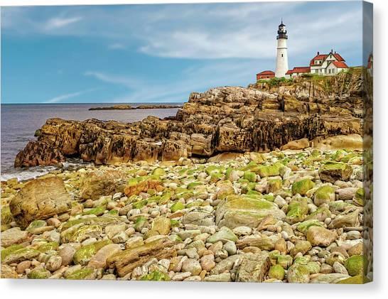 1791 Portland Head Light  -  1791portlandheadlighthouse185233 Canvas Print by Frank J Benz
