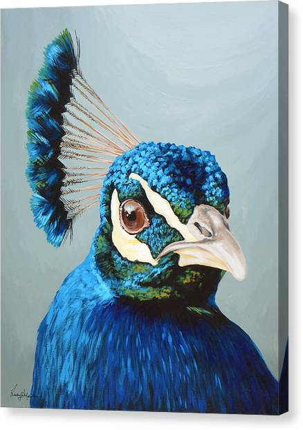 Peacocks Canvas Print - Peacock by Lesley Alexander