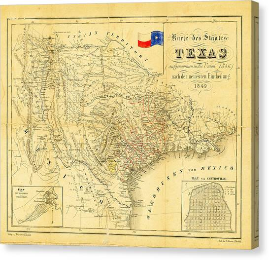 Austin Texas Canvas Print - 1849 Texas Map by Bill Cannon
