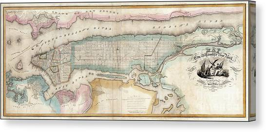 Etc Canvas Print - 1852 New York City Map by Jon Neidert
