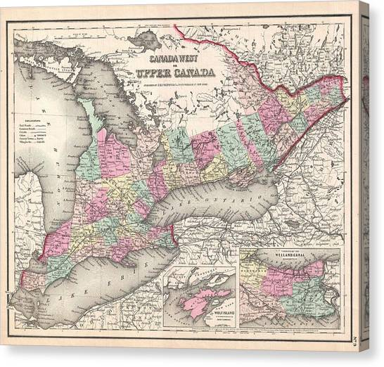Celestial Globe Canvas Print - 1857 Colton Map Of Ontario Canada by Celestial Images
