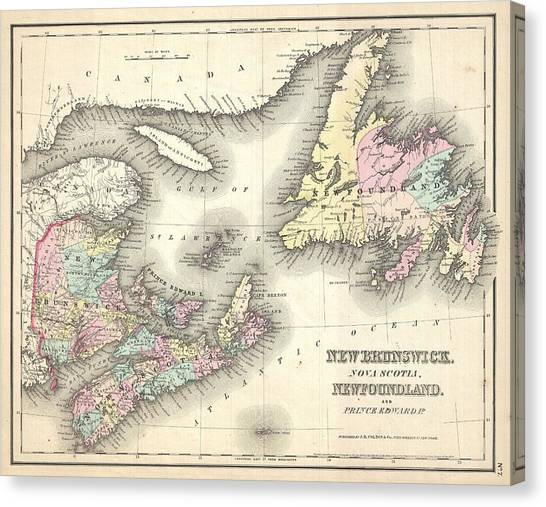 Celestial Globe Canvas Print - 1857 Map Of New Brunswick And Newfoundland Canada by Celestial Images