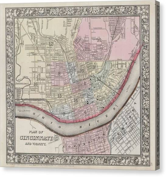 Celestial Globe Canvas Print - 1864 Mitchell Map Of Cincinnati. Ohio by Celestial Images