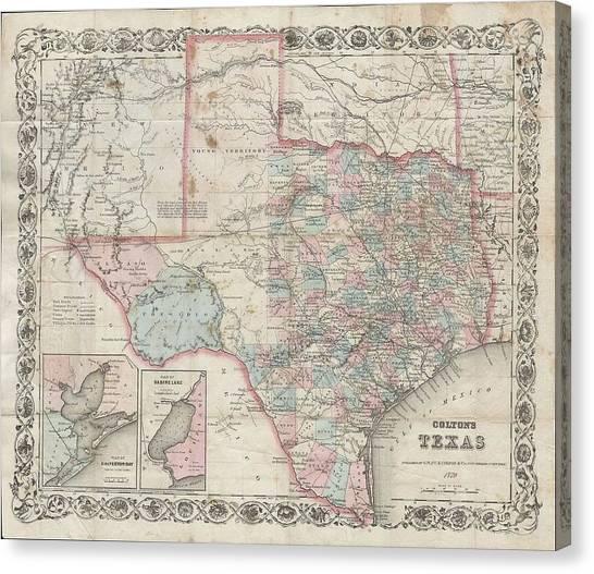 1870 Colton Pocket Map Of Texas Canvas Print