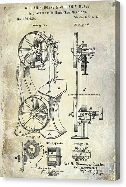 Saws Canvas Print - 1871 Bandsaw Patent by Jon Neidert