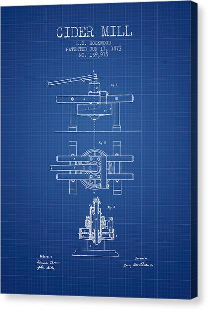 Cider Canvas Print - 1873 Cider Mill Patent - Blueprint by Aged Pixel