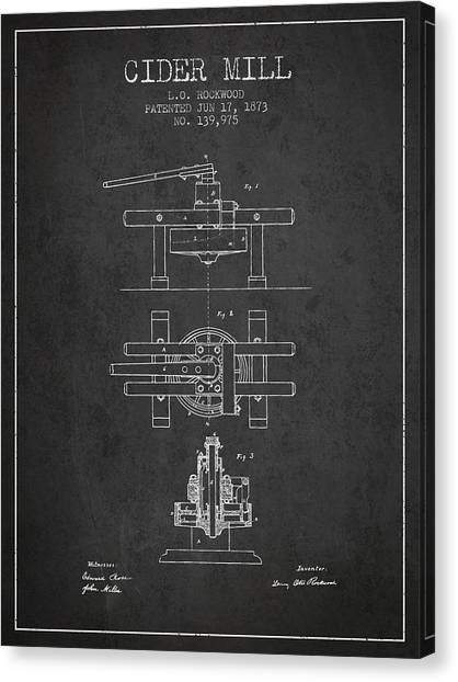 Cider Canvas Print - 1873 Cider Mill Patent - Charcoal by Aged Pixel