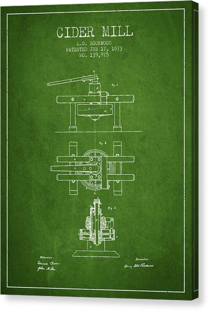 Cider Canvas Print - 1873 Cider Mill Patent - Green by Aged Pixel