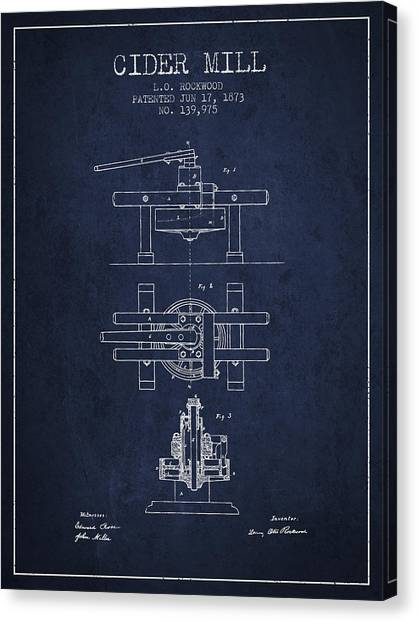 Cider Canvas Print - 1873 Cider Mill Patent - Navy Blue by Aged Pixel