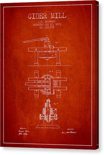 Cider Canvas Print - 1873 Cider Mill Patent - Red by Aged Pixel