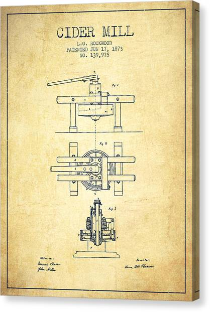 Cider Canvas Print - 1873 Cider Mill Patent - Vintage by Aged Pixel