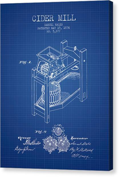 Cider Canvas Print - 1874 Cider Mill Patent - Blueprint 02 by Aged Pixel