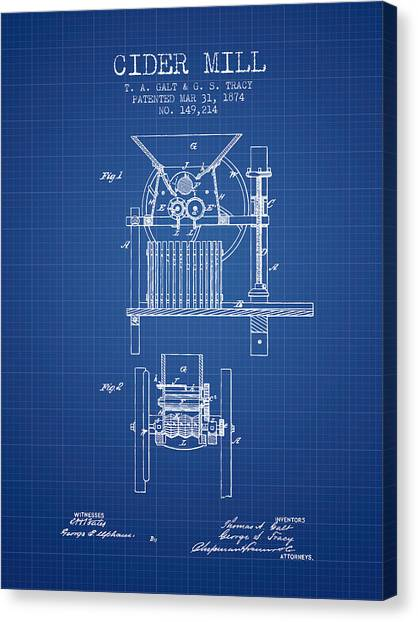Cider Canvas Print - 1874 Cider Mill Patent - Blueprint by Aged Pixel