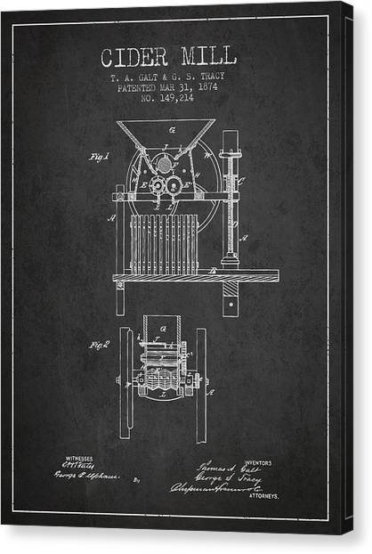 Cider Canvas Print - 1874 Cider Mill Patent - Charcoal by Aged Pixel