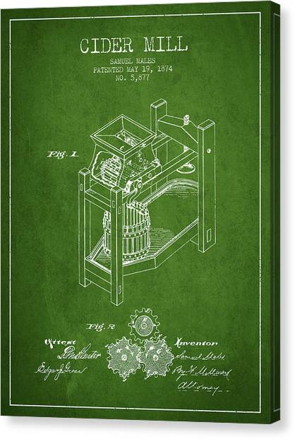 Cider Canvas Print - 1874 Cider Mill Patent - Green 02 by Aged Pixel