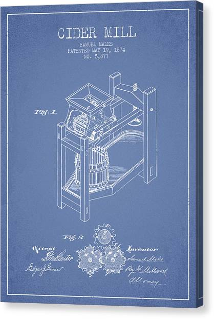 Cider Canvas Print - 1874 Cider Mill Patent - Light Blue 02 by Aged Pixel