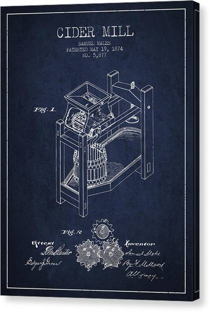 Cider Canvas Print - 1874 Cider Mill Patent - Navy Blue 02 by Aged Pixel
