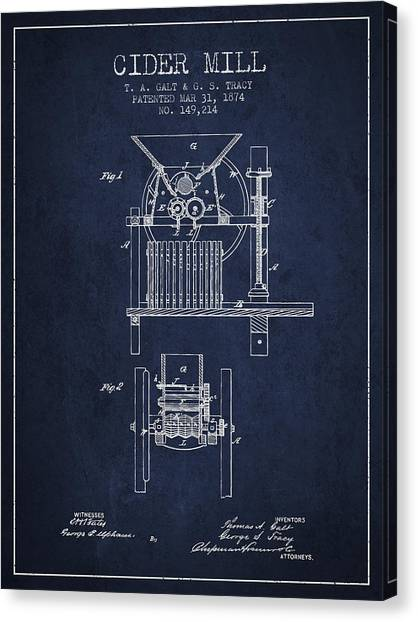 Cider Canvas Print - 1874 Cider Mill Patent - Navy Blue by Aged Pixel