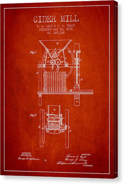 Cider Canvas Print - 1874 Cider Mill Patent - Red by Aged Pixel
