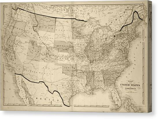 1876 Map Of The United States Sepia Canvas Print