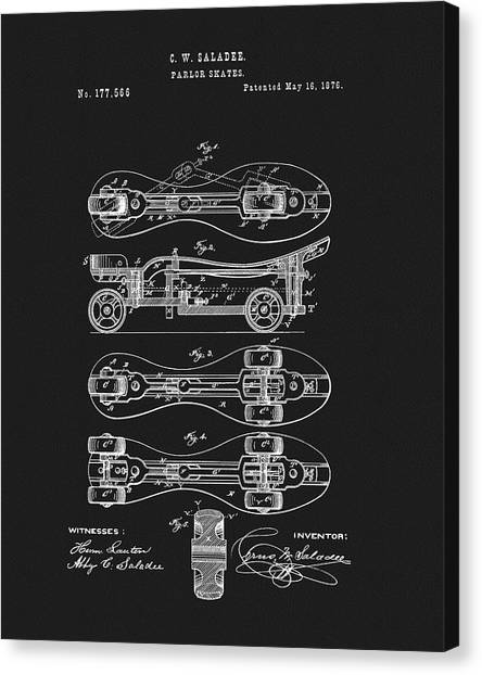 Rollerblading Canvas Print - 1876 Roller Skates Patent by Dan Sproul