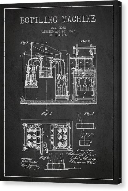 Brewery Canvas Print - 1877 Bottling Machine Patent - Charcoal by Aged Pixel