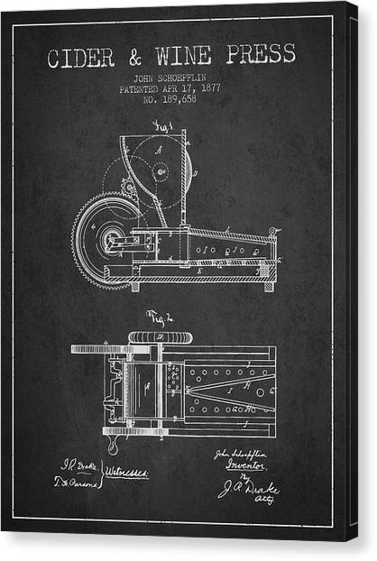 Wine Barrels Canvas Print - 1877 Cider And Wine Press Patent - Charcoal by Aged Pixel