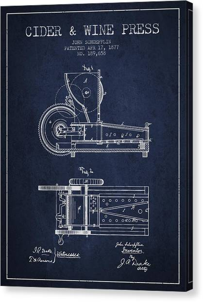 Wine Barrels Canvas Print - 1877 Cider And Wine Press Patent - Navy Blue by Aged Pixel