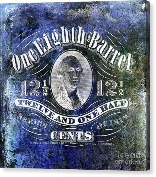 Taxes Canvas Print - 1878 One Eighth Beer Barrel Tax Stamp Blue by Jon Neidert