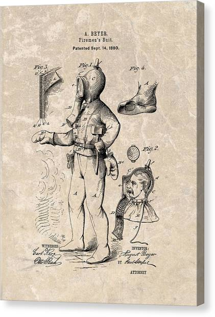 Nyfd Canvas Print - 1880 Firemen's Suit Patent by Dan Sproul